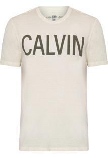Camiseta Masculina Estampa Calvin Peito - Bege