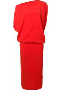 Poiret Vestido Assimétrico Drapeado - Vermelho