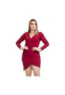 Vestido Clara Arruda Canelado Manga Longa 50609 Vinho