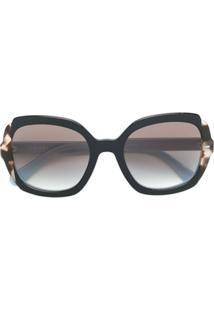 Prada Eyewear Óculos De Sol Oversized - Preto