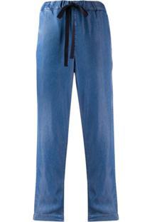 Semicouture Calça Cropped Com Cintura Alta E Ajuste No Cós - Azul