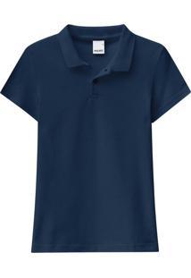 Blusa Azul Marinho Polo Tradicional Em Piquê