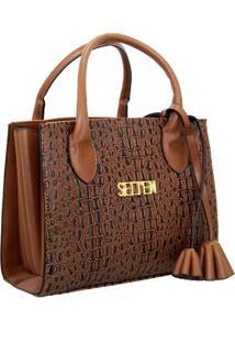 Bolsa Sanfonada Handbag Feminina Marrom Selten