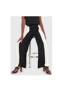 Calça Mercatto Pantalona Color Block Preta/Off-White
