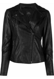 Armani Exchange Faux Leather Biker Jacket - Preto