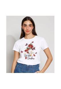 """Camiseta Feminina Manga Curta Soul Full Of Sunshine"""" Decote Redondo Off White"""""""