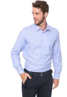 Camisa Aleatory Slim Padronagem Azul/Branca