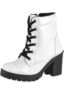 2804faf71 ... Bota Coturno Cr Shoes Verniz Feminina - Feminino-Branco