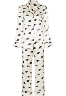 Olivia Von Halle Conjunto De Pijama Lila Com Estampa De Olhos - Branco