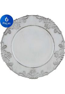 Jogo De 6 Sousplat De Plástico Flowers 33Cm - Bon Gourmet - Branco