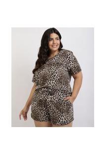 Pijama Feminino Plus Size Em Moletinho Blusa Estampada De Animal Print Onça Manga Curta Marrom