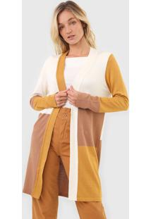 Cardigan Tricot Dress To Color Block Off-White/Bege