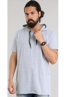 Camiseta Longa Em Moletom Com Capuz Cinza Mescla