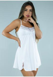 Camisola Renda Bravaa Modas Fenda Curta Alcinha Pijama Dormir 297 Branca - Branco - Feminino - Poliã©Ster - Dafiti