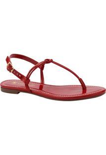 Sandália Rasteira Envernizada- Vermelhavia Uno