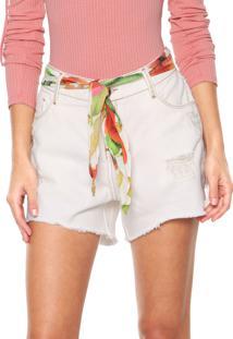 Bermuda Jeans Morena Rosa Reta Destroyed Com Lenço Branca