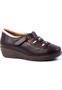 Sapato Feminino Anabela 188 Em Couro Doctor Shoes - Feminino-Café