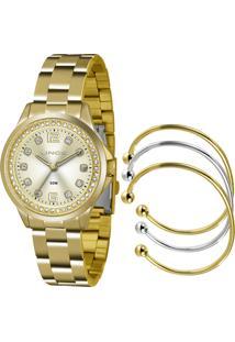 Kit De Relógio Analógico Lince Feminino + Braceletes - Lrg4393L K198C2Kx Dourado - Único