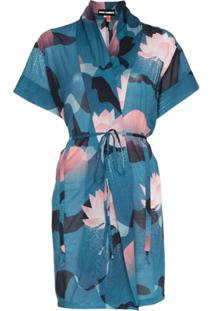 Double Rainbouu Kimono Com Estampa Floral - Azul
