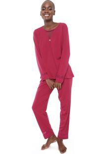Pijama Pzama Renda Vinho