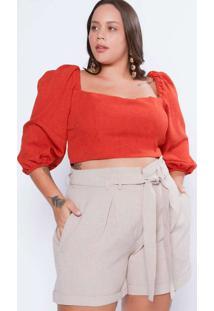 Blusa Almaria Plus Size Tal Qual 3/4 Amarração Cos
