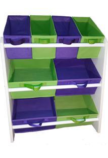 Organizador Infantil Porta Brinquedos Médio Violeta E Verde Limão - Montessoriano - Organibox