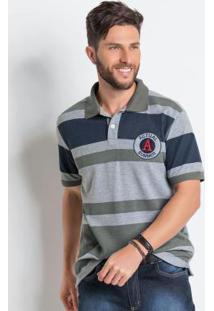 Camisa Polo Mescla Com Listras Largas