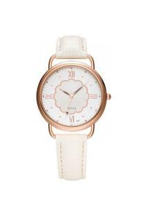 Relógio Feminino Yazole 399 - Branco Com Branco