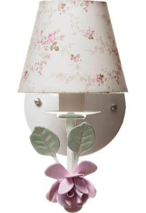 Arandela 1 Lâmpada Flor Grande Quarto Bebê Infantil Menina Potinho De Mel Rosa
