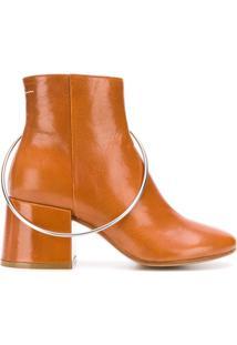 Mm6 Maison Margiela Ankle Boot De Couro Com Detalhe De Argola - Marrom