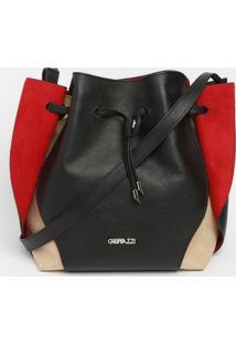 Bolsa Em Couro Com Recortes - Preta & Vermelha- 28X4Griffazzi