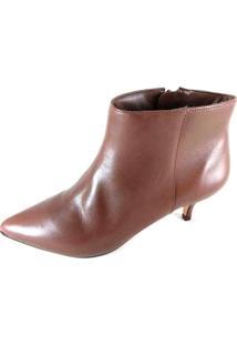 Bota Cano Curto Sapatoweb Salto Couro Marrom