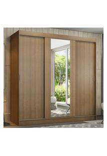 Guarda-Roupa Casal Madesa Reno 3 Portas De Correr Com Espelho Marrom