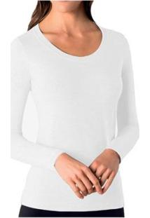 Camiseta Manga Longa Algodão Roupa Loba Lupo Feminina - Feminino-Branco