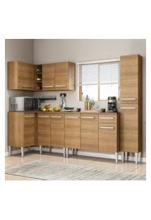 Cozinha Completa De Canto Madesa Emilly Water Com Armário, Balcão E Paneleiro Rustic