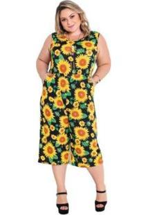 Macacão Plus Size Marguerite Pantacourt Girassol Feminino - Feminino-Amarelo