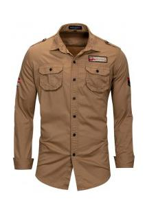 Camisa Masculina Casual Air Bolso Duplo Abotoado Manga Longa - Cáqui