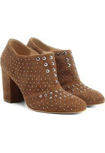 Ankle Boot Couro Shoestock Salto Grosso Hot Fix - Feminino-Bege