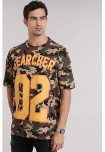 "Camiseta ""Searcher"" Estampada Camuflada Marrom"