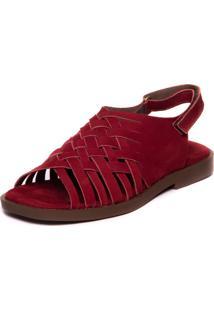 Sandalia Vermelha Feminina Baoba - Sued Marsala 4804