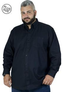 Camisa Plus Size Bigshirts Manga Longa Jeans Preta