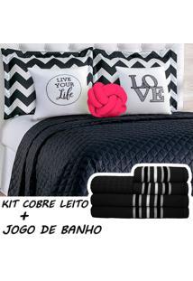 Kit Combo Cobre Leito C/ Jogo De Banho Isabela Preto/Pink Queen 13 Peças. - Tricae