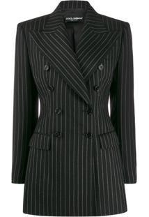 Dolce & Gabbana Blazer Risca De Giz Com Abotoamento Duplo - Preto