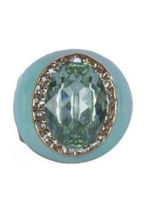 Anel Armazem Rr Bijoux Resinado Pedra Feminino - Feminino-Verde