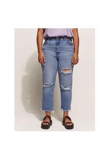 Calça Jeans Feminina Mom Cintura Super Alta Cropped Destroyed Azul Médio