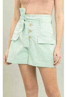 Shorts Cintura Alta Com Cinto Verde Surf Spray - Lez A Lez