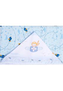 Toalha De Banho Papi Forrada Aventura Azul