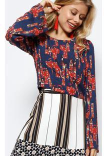 Blusa Com Recortes Aplicados- Azul Marinho & Vermelhalez A Lez