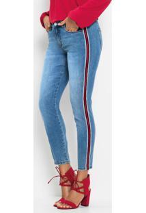 Calça Jeans Com Listra Lateral Azul Claro