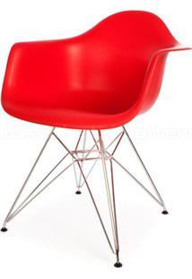 Cadeira Eames Com Braco Cromada Vermelho Fosco - 18186 - Sun House